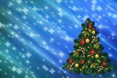Ejemplo de la Navidad con el abeto adornado verde Foto de archivo libre de regalías