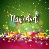 Ejemplo de la Navidad con el español Feliz Navidad Typography y estrella del papel del recorte del oro, bola ornamental en azul b ilustración del vector
