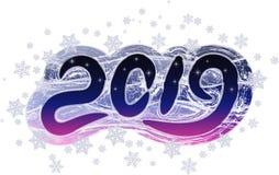 Ejemplo de la Navidad con los copos de nieve 2019 ilustración del vector
