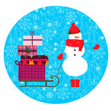 Ejemplo de la Navidad con los muñecos de nieve lindos y trineo con los regalos libre illustration