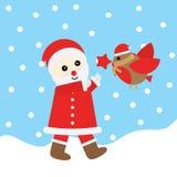 Ejemplo de la Navidad con Santa Claus linda y el pájaro convenientes para la tarjeta, el papel pintado y la postal de felicitació Fotografía de archivo libre de regalías