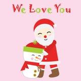 Ejemplo de la Navidad con Santa Claus y el muñeco de nieve lindos en el fondo rosado conveniente para la tarjeta de felicitación  Imagen de archivo