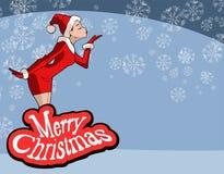 Ejemplo de la Navidad de la muchacha en el traje de Santa Claus Fotografía de archivo libre de regalías