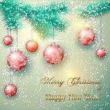 Ejemplo de la Navidad del vector con la rama de árbol y Fotografía de archivo