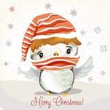 Ejemplo de la Navidad o del Año Nuevo con el pájaro de bebé lindo ilustración del vector