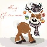 Ejemplo de la Navidad o del Año Nuevo con los ciervos lindos en el sombrero, bufanda stock de ilustración