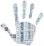 Ejemplo de la nube de la palabra relacionado con la ayuda humanitaria ilustración del vector