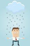 Nube de lluvia sobre hombre de negocios ilustración del vector