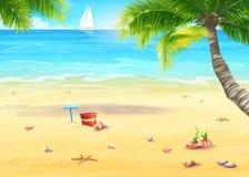 Ejemplo de la orilla de mar con las palmeras, las cáscaras, el cubo y el rastrillo ilustración del vector