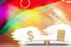 Ejemplo de la oscilación del dólar y del aceite Imagen de archivo libre de regalías