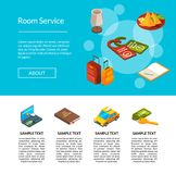 Ejemplo de la página de los iconos del hotel del vector Concepto de los servicios de hoteles stock de ilustración