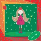 Ejemplo de la pequeña princesa con la vara mágica Fotos de archivo libres de regalías