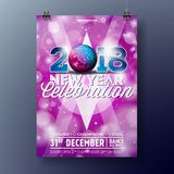 Ejemplo de la plantilla del cartel de la celebración del partido del Año Nuevo con el texto 3d 2018 y la bola de discoteca en fon Imagenes de archivo