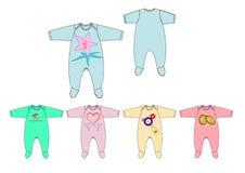 Ejemplo de la plantilla del diseño del mameluco del bebé de la tela del jersey de la impresión del pecho del adorno Imágenes de archivo libres de regalías