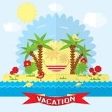 Ejemplo de la playa del vector en estilo plano Foto de archivo libre de regalías