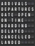 ejemplo de la presentación de la información del aeropuerto de la Fractura-aleta Imagen de archivo