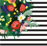 Ejemplo de la primavera del vector hola Ramo de la flor Flores salvajes Imágenes de archivo libres de regalías