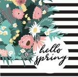 Ejemplo de la primavera del vector hola Ramo de la flor Flores salvajes Fotos de archivo
