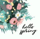 Ejemplo de la primavera del vector hola Ramo de la flor Flores salvajes Foto de archivo libre de regalías