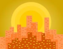 Ejemplo de la puesta del sol de Manhattan ilustración del vector