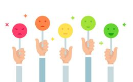 Ejemplo de la reacción de clientes Llevar a cabo muestras del humor de Emoji Escala del voto Diseño plano del vector imagen de archivo