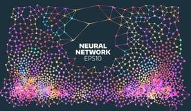 Ejemplo de la red neuronal Proceso de aprendizaje de máquina abstracta Cubierta geométrica de los datos Inteligencia artificial stock de ilustración