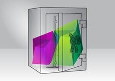 Ejemplo de la reserva con los elementos 3d Imagen de archivo libre de regalías