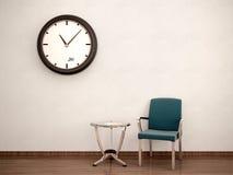 Ejemplo de la sala de espera Silla, tabla, reloj Fotos de archivo