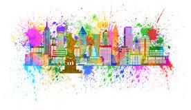 Ejemplo de la salpicadura de la pintura del horizonte de Nueva York stock de ilustración