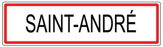 Ejemplo de la señal de tráfico de ciudad de Andre del santo en Francia Imagen de archivo