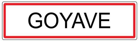 Ejemplo de la señal de tráfico de ciudad de Goyave en Francia Fotos de archivo libres de regalías