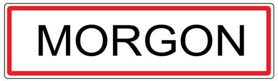 Ejemplo de la señal de tráfico de ciudad de Morgon en Francia Imagen de archivo