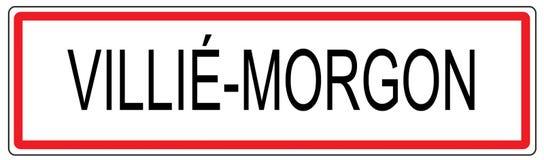 Ejemplo de la señal de tráfico de ciudad de Villie Morgon en Francia Fotografía de archivo libre de regalías