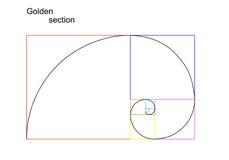 Ejemplo de la sección de oro (ratio, proporción) Foto de archivo libre de regalías