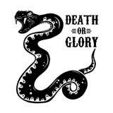 Ejemplo de la serpiente en el fondo blanco Diseñe el elemento para el cartel, camiseta, emblema, muestra Fotos de archivo