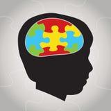 Ejemplo de la silueta del autismo de niño Imagen de archivo