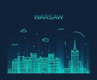 Ejemplo de la silueta del horizonte de Varsovia linear Fotografía de archivo libre de regalías