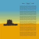 Ejemplo de la silueta del tractor en el campo Fotografía de archivo libre de regalías