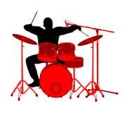 Ejemplo de la silueta del vector del batería del rock-and-roll aislado en el fondo blanco Tambores del juego del músico en etapa  libre illustration