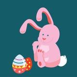 Ejemplo de la tarjeta con los huevos y el conejo de Pascua Foto de archivo libre de regalías