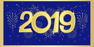 Ejemplo de la tarjeta del Año Nuevo con los fuegos artificiales de oro y números en un fondo azul NZ libre illustration