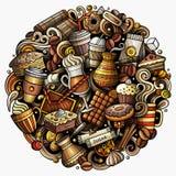 Ejemplo de la tienda de Coffe de los garabatos del vector de la historieta Imagen de archivo libre de regalías