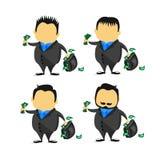 Ejemplo de la toma del hombre de negocios de la historieta con el bolso lleno de dinero en concepto del hombre del sueldo Fotografía de archivo