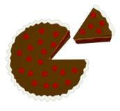 Ejemplo de la torta de chocolate de la cereza con el pedazo cortado Foto de archivo libre de regalías