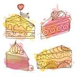 Ejemplo de la torta del vector El sistema de 4 tortas dibujadas mano con colorido salpica Tortas con crema y bayas Imagenes de archivo