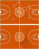 Ejemplo de la trama de la estrategia de un juego de baloncesto Fotografía de archivo libre de regalías