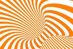 Ejemplo de la trama de la ilusión óptica del toro 3D Imagen blanca y anaranjada hipnótica del tubo Ponga en contraste torcer los  stock de ilustración