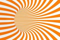 Ejemplo de la trama de la ilusión óptica del toro 3D Imagen blanca y anaranjada hipnótica del tubo Ponga en contraste torcer los  ilustración del vector