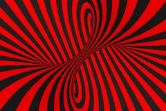 Ejemplo de la trama de la ilusión óptica del toro 3D Imagen negra y roja hipnótica del tubo Ponga en contraste torcer los lazos,  libre illustration
