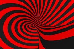 Ejemplo de la trama de la ilusión óptica del toro 3D Imagen negra y roja hipnótica del tubo Ponga en contraste torcer los lazos,  stock de ilustración